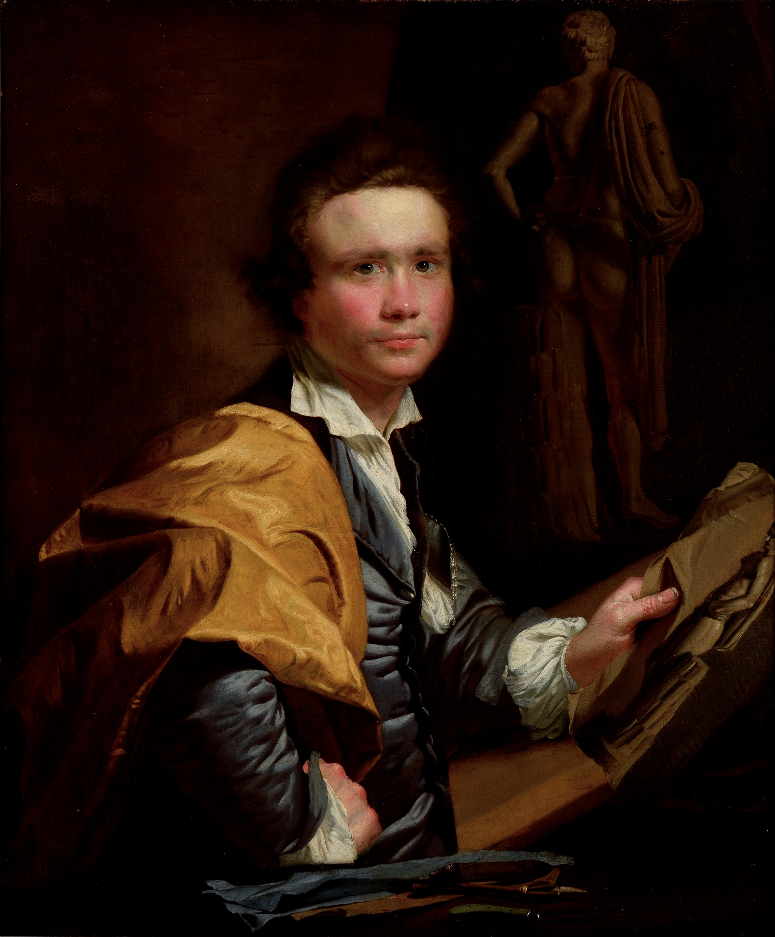 Joseph-Siffred Duplessis, attributed, French, Portrait of a Young Sculptor, 18th century. Oil on canvas, 291/8 x 241/2 inches (74 x 62.2 cm). Bequest of Mary D.B.T. Semans in memory of her mother, Mary Duke Biddle; 2013.3.1. Photo by Peter Paul Geoffrion.
