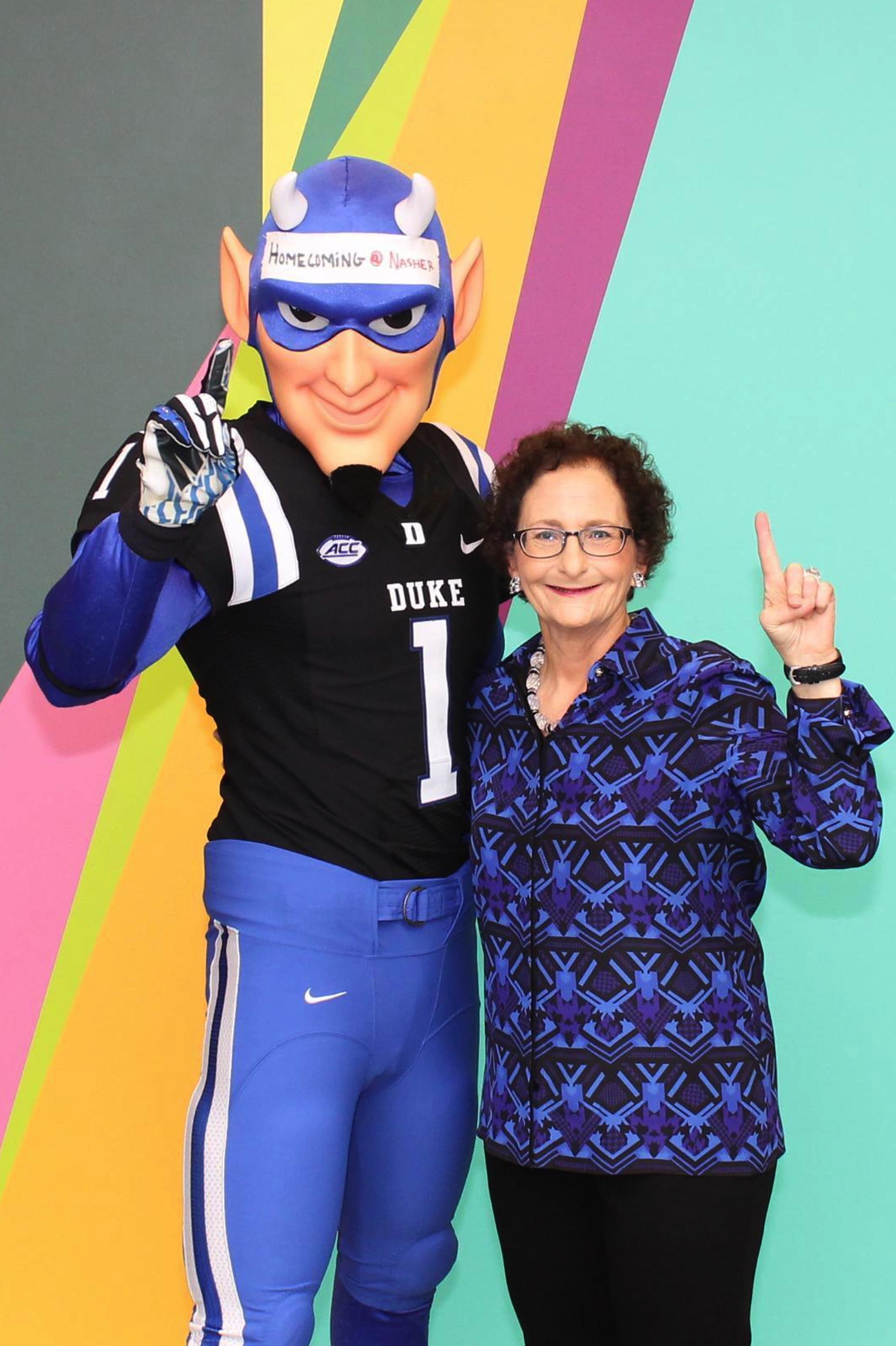 Nancy Nasher and Duke Blue Devil